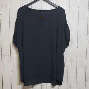 harve benard   black roll tab short sleeve blouse